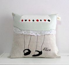 Alice in Wonderland decorative pillow/cushion cover. Cause we are all made here <3<3<3  This pillow cover is made from linen, quilting cotton and