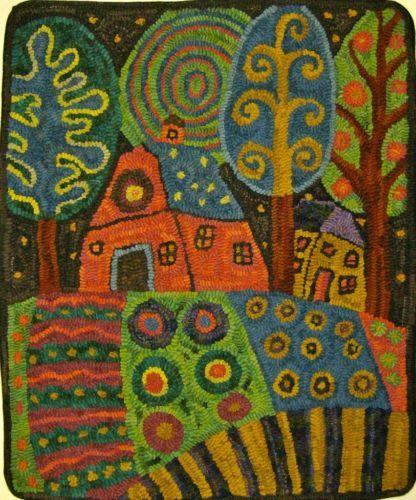 RUG-HOOKING-PAPER-PATTERN-Barn-Garden-Landscape-KARLA-G