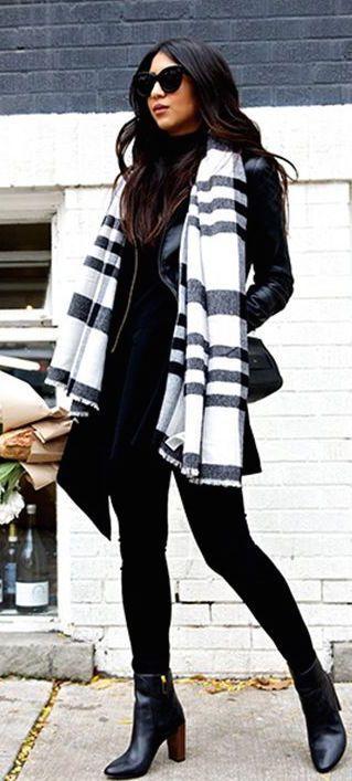 striped scarf + leather jacket + cat eye #sunglasses http://www.smartbuyglasses.com/designer-sunglasses/general/--Cat+Eye--Black-------------------