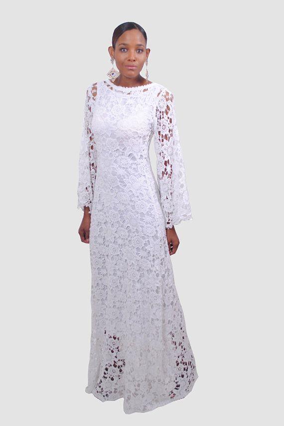 Bohemian wedding dress bell sleeve crochet lace by for Bell sleeve wedding dress