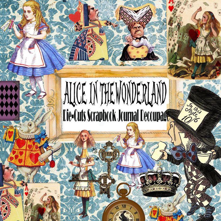 Vintage Alice in the wonderland,ephemera Paper,Die-Cuts Scrapbook  Decoupage