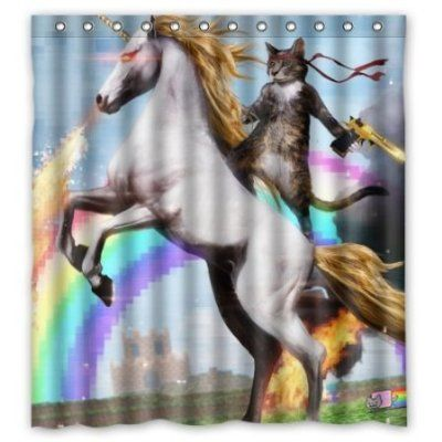BBFhome Personalisierte Lustige Einhorn und Katze Duschvorhang, inklusive Dusche Ringe 100% Polyester Wasserdicht 168x180 cm