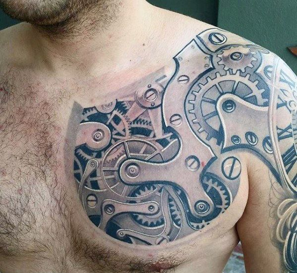 50 Awesome 3d Chest Tattoo Designs Gravetics Spine Tattoo For Men Chest Tattoo Biomechanical Tattoo