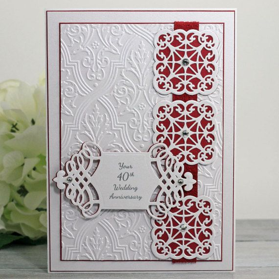 40th Anniversary Card – Ruby Anniversary – Ruby Wedding – Happy Anniversary Wishes – Greeting Card – Card for Her – Fancy Handmade Cards