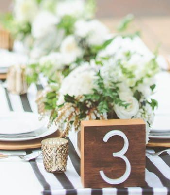 Midcentury Table Numbers | A modern and rustic twist on wedding table numbers.