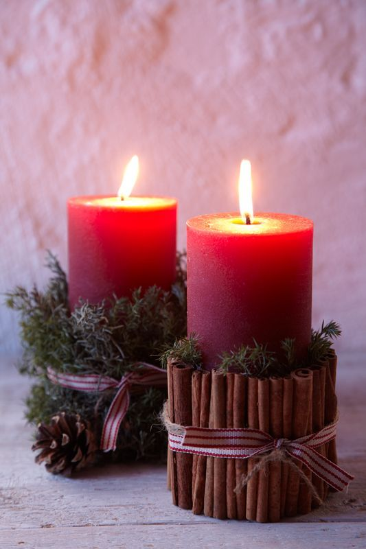 Red Candles one to be lit on the each of the 4 Sundays before Christmas -- Add a White candle to the middle to symbolize Christ, to be lit on Christmas Eve or Day / Advent Wreath