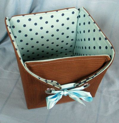 Building a Basket Using Vintage Fabrics and Grommets | Perpetualplum's Weblog