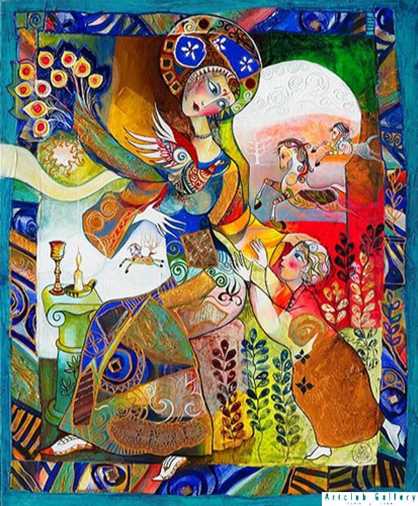 Scène maternelle - 73 x 60 cm
