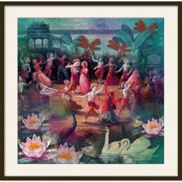 Dancing Lord : Lord Krishna's Dance of Divine Love.All the Art comes signed by Krsna Mehta in a classic and elegant black frame with acrylic.