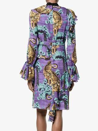 Gucci платье с оборками и рисунком из тигров