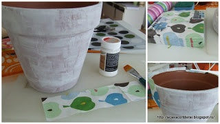 by Acasa Colt de Rai- Apple pot- Terracotta pot decorated with Mod Podge (decoupage glue)