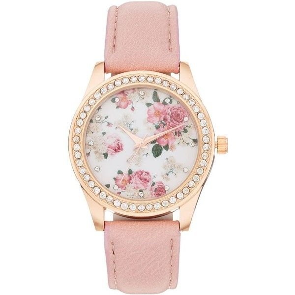 Women's Crystal Flower Watch ($15) ❤ liked on Polyvore featuring jewelry, watches, pink, pink crystal jewelry, blossom jewelry, flower jewellery, dial watches and pink watches