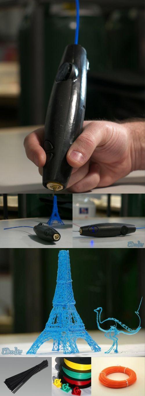 全球首款3D打印笔3 Doodler The printed pen 3Doodler (3D graffiti) developed a 3D Print in Boston WobbleWorks company pen, in a nutshell, it's functionally equivalent to the standard 3D printer's print head, but made the shape of the pen. With it, without computers and modeling software, you can imagine something you painted 3D models, like 3D graffiti, which is the sum of the origins of the name. 3Doodler is the world's first 3D printed pen,
