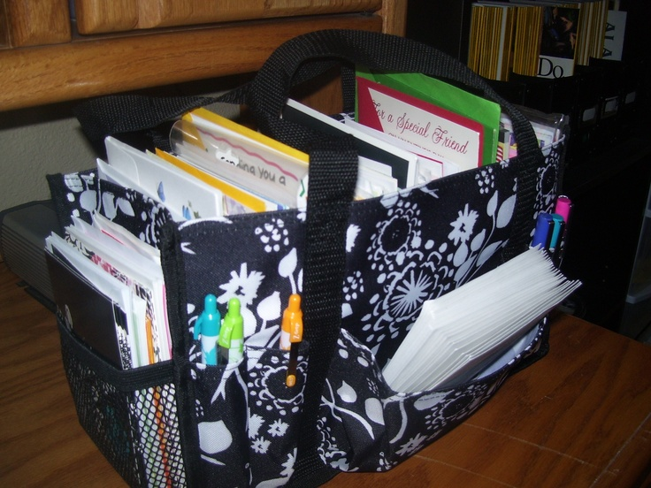 My Keep-It Caddy to hold my stock of greeting cards, envelopes and pens.