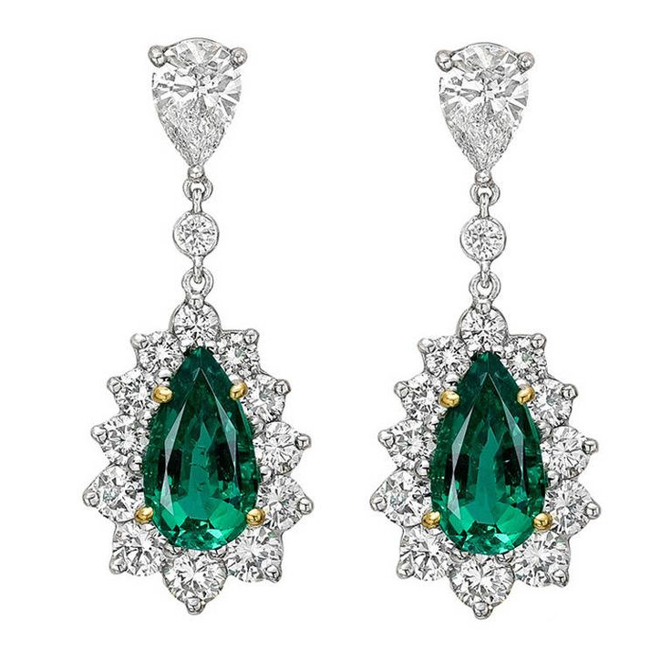 Emerald Diamond Pendant Earrings | From a unique collection of vintage drop earrings at https://www.1stdibs.com/jewelry/earrings/drop-earrings/