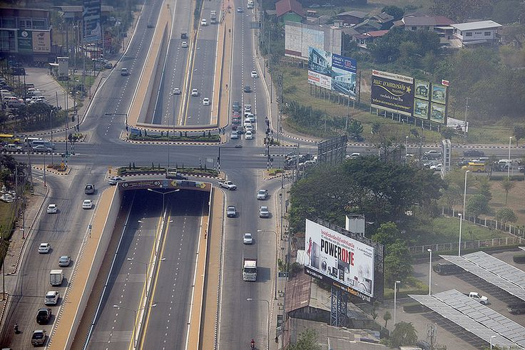 Aerial view of road intersection, Chiang Mai, Thailand - photo by Michael Rymer (cocoi_m), via Flickr;  intersection of Somphot Chiang Mai 700 Pi Road and Amphoe Mueang, at Chiang Mai, Thailand