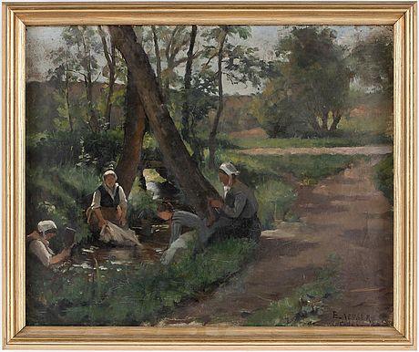 ELISABETH KEYSER (1851-1898) Laundresses in Carolles, France