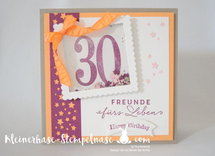 Stampin Up Bernau Berlin Schüttelkarte Sternkonfetti So viele Jahre Lagenweise Quadrat Banner (1)