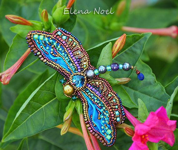 Summer dragonfly embroidered beaded brooch. Bead от ElenNoel - shibori