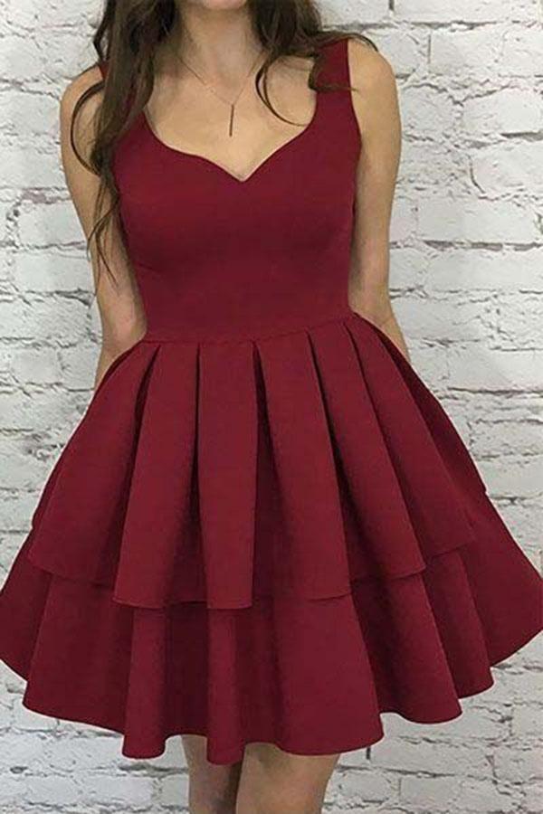 4c72f8b82a3 A Line V Neck Burgundy Short Open Back Prom Dress