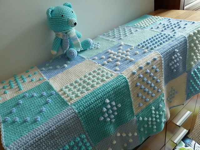 Blue Bobbles Blanket using blocks from Jan Eaton's 200 Crochet Blocks.