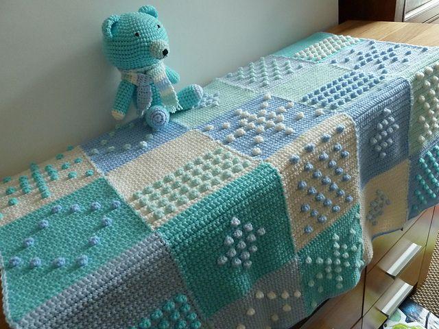 Blue Bobbles Blanket using blocks from Jan Eaton's 200 Crochet Blocks.