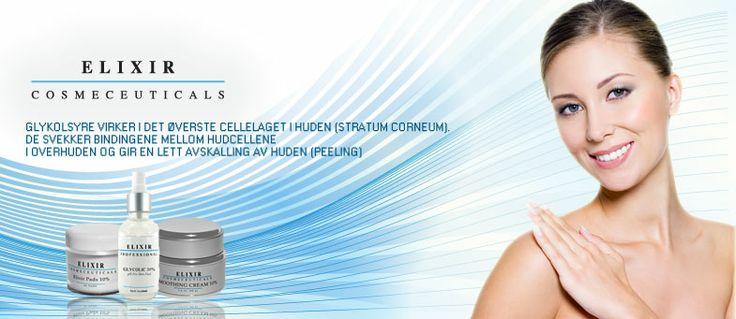 Informasjon om bruk av glykolsyre i hudpleie produkter fra Elixir.