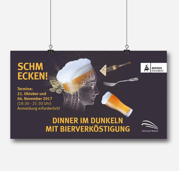 Plakat für »Dinner im Dunkeln« im Universum Bremen!