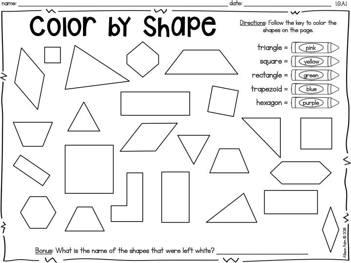 Geometry 2d Two Dimensional Shapes First 1st Grade Ready Math Unit 6 Lesson 26 Color By Shape Printab Shapes Worksheets Worksheets For Kids Common Core Math Two dimensional shapes worksheets