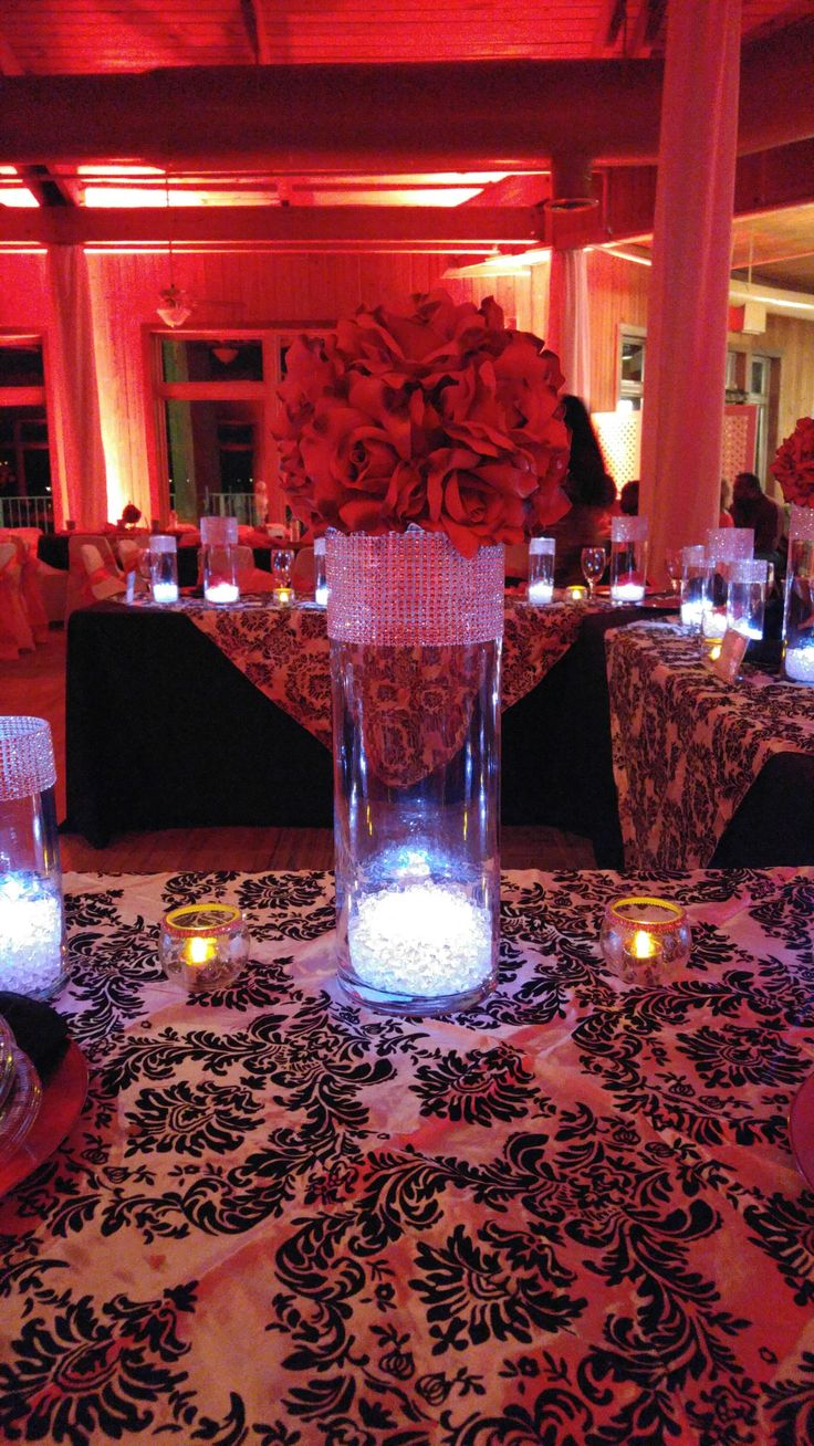 Damask, Red and Black