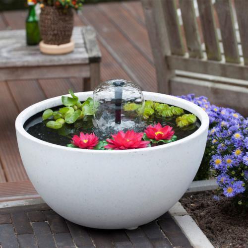 Fontaine de jardin Mini Bassin Rond 55 cm Blanc + Pompe Mini Bassin Rond 55 cm Blanc + Pompe