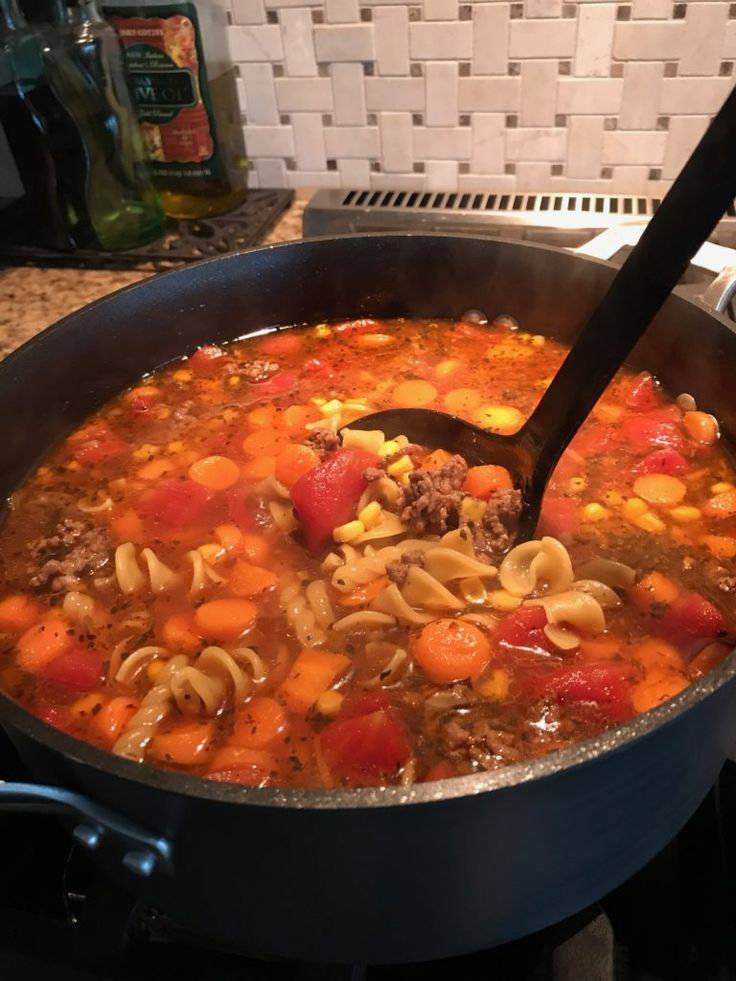 Mom's Vegetable Beef Noodle Soup- The Cookin' Chicks