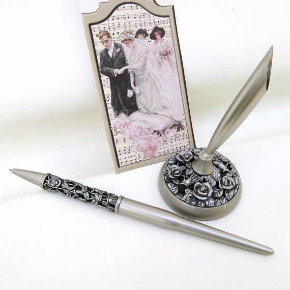 Wedding Pen Set Silver Rose Pen and Pen Holder by WhimzyThyme