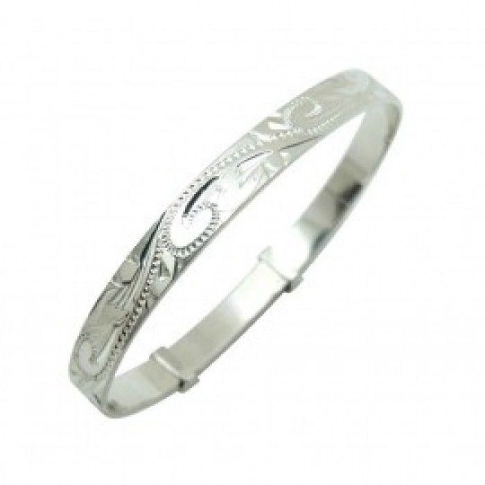Baby Bracelets:  Sterling Silver, Hand Made, Superbly Engraved, Adjustable Christening Bangles