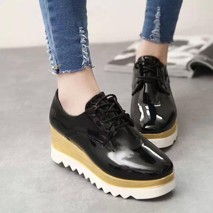 Aliexpress.com: Comprar Stella Estrella zapatos de plataforma zapatos de plataforma de cuero suave pendiente con las mujeres cabeza cuadrada zapatos zapatos de bebé con el dinero de zapatos zapatos fiable proveedores en Angel Shoes Home