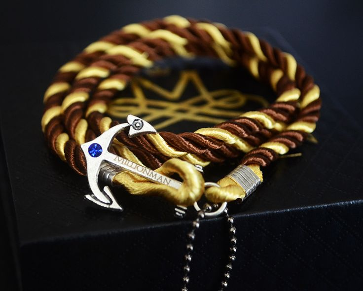 Chocolate Gold Anchor Rope Bracelet.