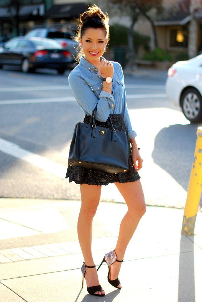 studded black skirt with chambray shirt