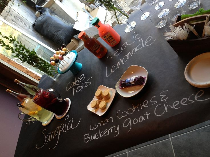 Entertaining - Food Display Ideas .. Black Butcher Paper with Chalk Writing - Dining Table