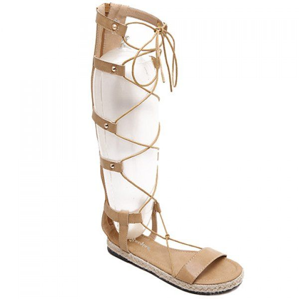 Rome Style Lace-Up and Weaving Design Sandals For Women
