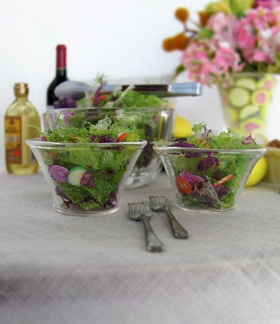 Miniature Tossed Salad in Clear Glass Bowl  -  INDIVIDUAL Size  -  1:6 Scale Realistic Miniature Food for Fashion Dolls & Action Figures