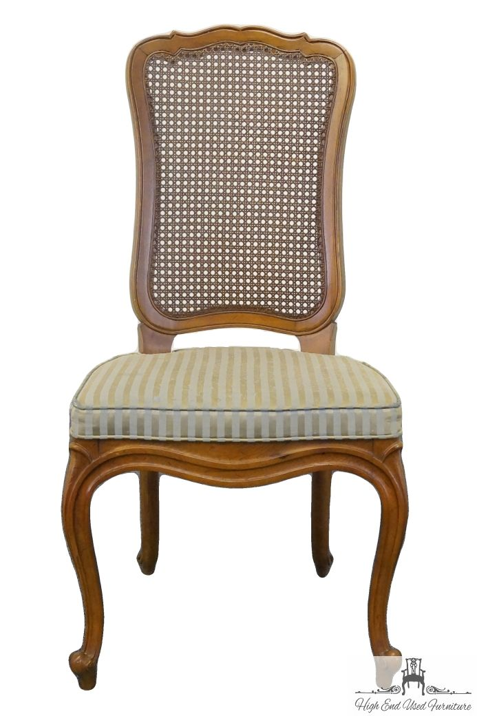 High end used furniture drexel heritage touraine collection french provincial cane back side - Tall vanity chair ...
