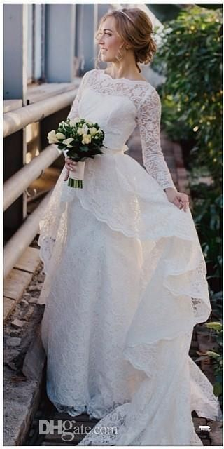 2016 Lace Wedding Dresses Long Sleeves A Line Bateau Floor Length Covered Button Court Train Modest Cheap Bridal Gowns Plus Size Lace Dresses Semi Formal Dresses From Toprated, $133.87| Dhgate.Com