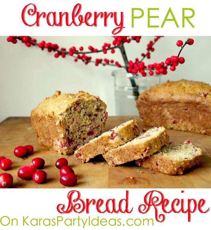 Cranberry Pear Bread Loaf Recipe via Kara's Party Ideas KarasPartyIdeas.com #cranberrybread #cranberrypearbread #cranberrybreadrecipe #christmas