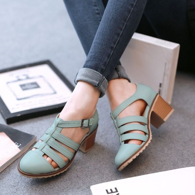 Robins egg blue leather t-strappy med heel shoes