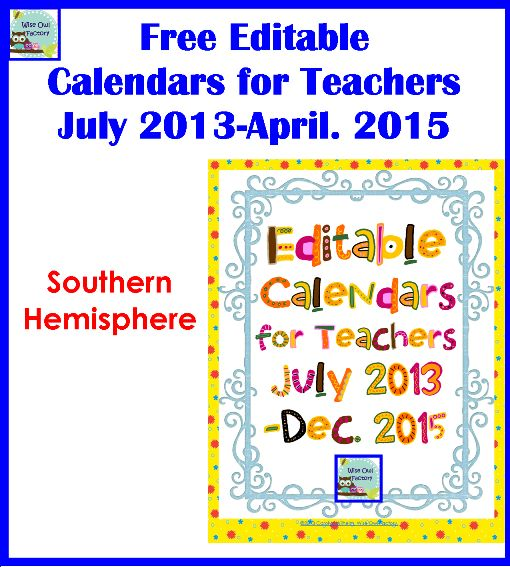 Editable Calendar Kindergarten : Free editable teacher calendars my school stuff board
