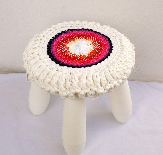 Spring Circles- Eco handwoven, crochet stool cover