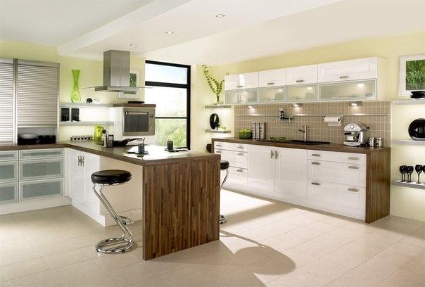 Beautiful Modern Kitchen   Great Kitchen Design Idea: Combination Of  High Gloss White Cabinet
