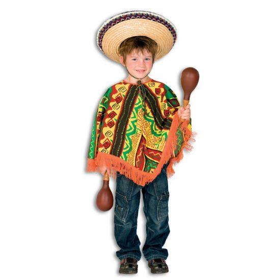 Mexicaanse poncho voor kinderen. Leuke Mexicaanse poncho voor kinderen in verschillende kleuren met een Mexicaans motiefje. Met de kleuren: bruin, oranje, groen, rood en geel. Materiaal: polyester.