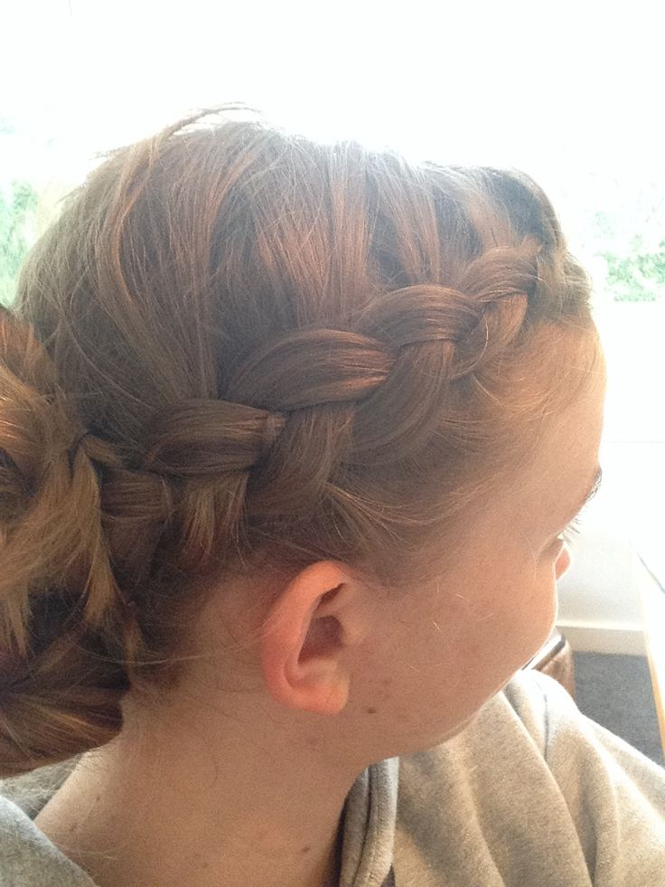 Dutch braid to messy bun