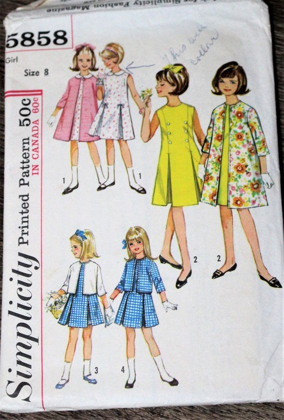 1964 Simplicity sewing pattern #5858 - Girls\' #supplies ...